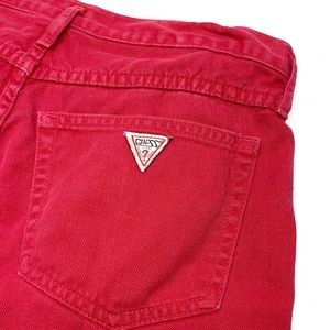 Guess by Marciano Shorts - • Vintage GUESS Red Denim Button Fly Shorts N41